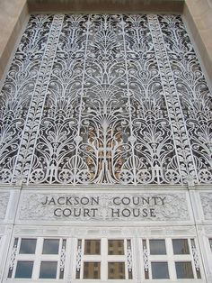 Jackson County Courthouse Kansas City, Missouriby Wampa-One Another grand metal grille. Kansas City Bars, Kansas City Missouri, New York Buildings, Art Deco Buildings, Excelsior Springs, County Court, Heart Of America, Art Deco Design, Metal Art