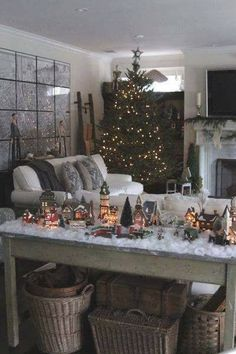 Window Decorations for Christmas : come visit my holiday home tour for daniellemuller. Christmas Village Display, Christmas Town, Christmas Time Is Here, Christmas Villages, Noel Christmas, Country Christmas, Winter Christmas, Christmas Crafts, Christmas Mantles
