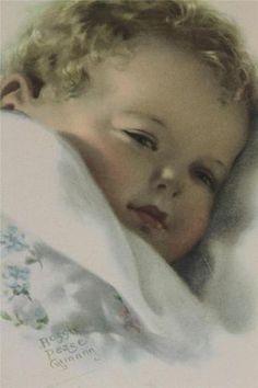 Lovely Vintage Print Betsy Gutmann Drowsy Child Round Frame Blues 1912 Pastel | eBay