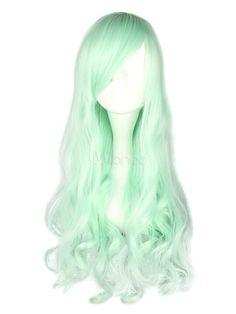 Fantastic Mint Green Long Curly Rayon Lolita Wigs