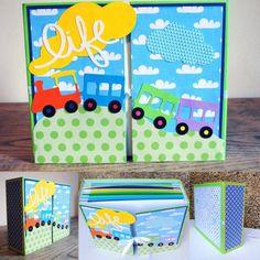 Il trenino della vita! #album 21x35cm 120 foto 10x15cm  #cartonaggio #scrapbooking #baby #gift #trenino