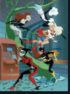 Harley Quinn and Poison Ivy   Poison Ivy, Livewire, Batgirl, Supergirl and Harley Quinn