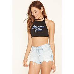 Forever 21 Women's  Summer Vibes Halter Crop Top ($7.90) ❤ liked on Polyvore featuring tops, crop, halter-neck tops, tie halter top, halter neck tops, summer crop tops and white tops