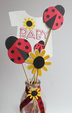 Lady Bug Baby Shower Centerpiece Picks by calladoo on Etsy Baby Ladybug, Ladybug Party, Shower Bebe, Girl Shower, Baby Shower Centerpieces, Baby Shower Decorations, Ladybug Centerpieces, Table Centerpieces, Shower Banners