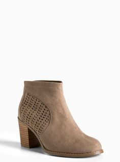 Plus Size Cutout Ankle Boots (Wide Width), GREY