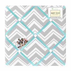 Zig Zag Chevron Turquoise, White and Gray Fabric Memo Board