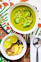 Ginger broccoli white bean soup