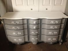 Custom Order Great condition all wood french 9 drawer dresser with matching mirror