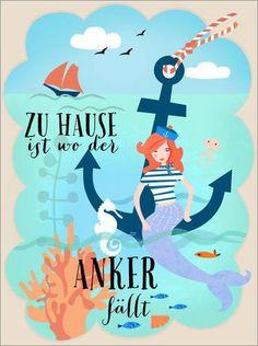 Poster 50 x 70 cm: Zuhause ist, wo der Anker fällt von Elisandra – hochwertiger Kunstdruck, neues Kunstposter