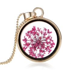 (3.99$)  Watch here - http://aimf7.worlditems.win/all/product.php?id=J0581G-1 - Fashion New Jewelry Romantic Transparent Crystal Glass Round Floating Locket Dried Flower Plant Specimen Golden Pendant Chain Necklace for Women Girls