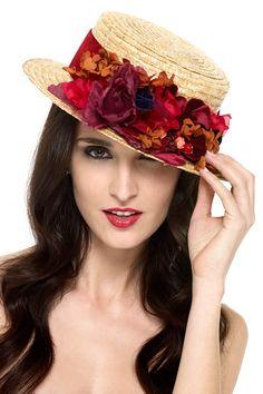 Canotier de LA MAS MONA. Alquiler de vestidos y complementos para bodas. www.lamasmona.com
