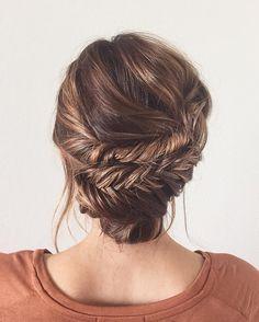 soft braided wedding updo ~  we ❤ this! moncheribridals.com