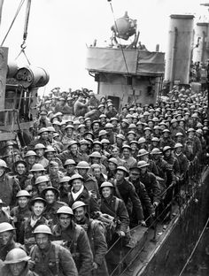 DUNKIRK 26-29 MAY 1940. British troops on board a destroyer at Dover wait to leave the ship.