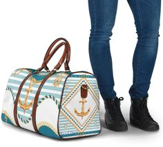Waterproof Fabric, Travel Bags, Shoulder Strap, The Originals, Navy, Anchor, Gold, Traveling, Blue