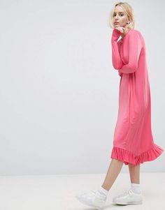 ASOS Ruffle Drouser Dress In Slinky #ad