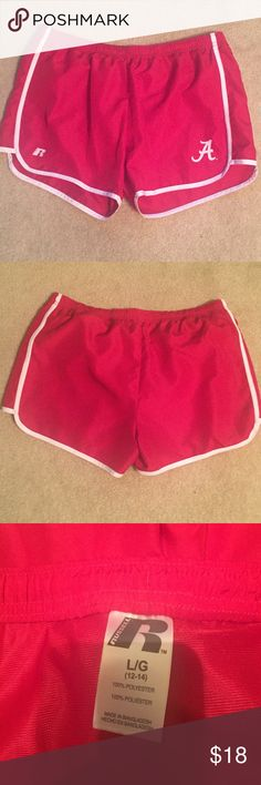 "Russell Athletic Shorts Red shorts with the Alabama ""A"" (Roll Tide)! Russell Athletic Shorts"