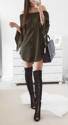 #winter #outfits / Green Off Shoulder Dress // Laced Up Over The Knee Boots