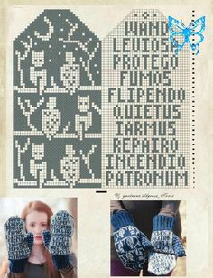 Holme Samsqe Feminine Knits+C. Crochet Mittens Free Pattern, Knit Mittens, Mitten Gloves, Knit Crochet, Pixel Crochet, Knitting Charts, Hand Knitting, Knitting Patterns, Harry Potter Knit