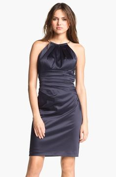 Eliza J Pleated Satin Sheath Dress available at #Nordstrom