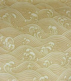 Timeless Treasures Fabrics Inc, Copyrighted 2007 (Patt~ LOTUS-CM3298) Gold Japanese Waves Print 100% Cotton Fabric