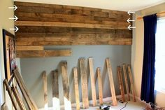 Dishfunctional Designs: God Save The Pallet! Reclaimed Pallets Revamped Part II Pallet wall how-to. I'd like to do this in the basement. Pallet Projects, Home Projects, Pallet Ideas, Pallet Crafts, Diy Crafts, Diy Pallet Wall, Pallet Wood, Pallet Walls, Wood Walls