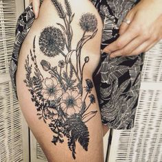 flower tattoos flower thigh tattoos thight tattoos texas wild flowers ...