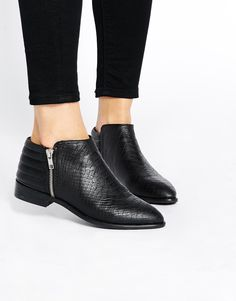 Boots by ASOS Collection Mock croc leather-look fabric Side zip fastening Padded cuff Wipe with a soft cloth