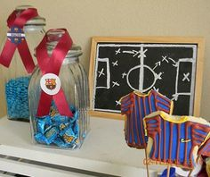 Barcelona Soccer Party, Barcelona Fc Logo, Birthdays, Lily, Candy, Display, Christmas Ornaments, Holiday Decor, Ideas Party