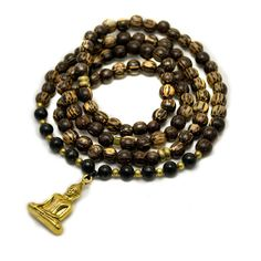 Palmwood Mala Beads with Gold Buddha Pendant