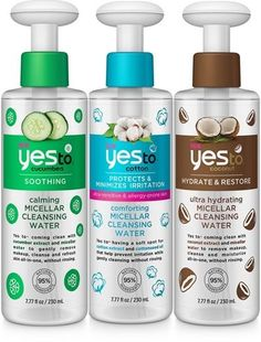 Yes To Micellar Cleansing Water Launch in Three Formulas - Skin - Beauty Beauty Care, Beauty Skin, Health And Beauty, Beauty Hacks, Beauty Tips, Diy Beauty, Beauty Products, Yes To Products, Homemade Beauty