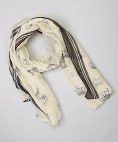 Take a look at this Black & White Royal Crown Scarf by Sweet Indigo on #zulily today!