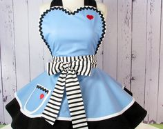 YES!!!!!  Enchanted Alice Apron for Tea Time in Alice Blue -- Made to Order