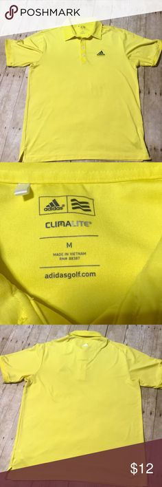 Men's Adidas ClimaLite Golf Polo Yellow Medium Preowned Adidas Golf Polo Neon yellow color ClimaLite  Size medium Great condition adidas Shirts Polos