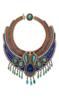 Bib-Style Necklace with Gemstone Cabochons and Beads, Seed Beads and Bugle Beads