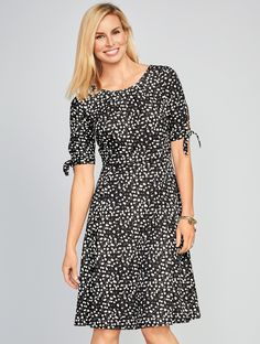 The Tie-Sleeve Polka-Dot Dress is sure to become a stylish staple of you wardrobe for work and beyond. Feminine through-and-through with a fit-and-flare silhouette that's certain to flatter.   Talbots