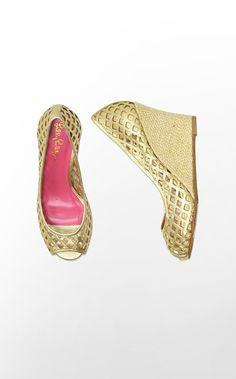 Lilly Pulitzer Resort Chic Gold Wedge for Summer!