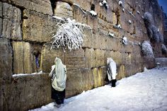 Jewish men pray at the Western Wall as snow falls in the old city of Jerusalem on Friday. People in Jerusalem woke up to around 25 centimetres of snow after the second major blizzard of winter swept across the hilltop Holy City Menahem Kahana/AFP