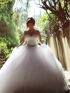 Online Shopping 2015 Long Sleeve Wedding Dresses with Rhinestones Crystals Backless Ball Gown Wedding Dress Vintage Bridal Gowns Spring Quinceanera Dresses Crystal Wedding Dresses, Bridal Party Dresses, Wedding Dresses For Sale, Princess Wedding Dresses, Tulle Wedding, Bridal Gowns, Wedding Gowns, Wedding Dresses With Bling, Dress Party
