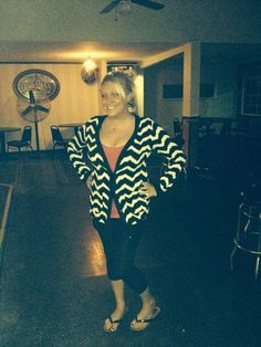 Amanda added a little red to the Chevron Crazy Cardigan to cheer on the Cards last night!