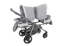 Bebecar One and Two double pushchair in Silver Shimmer