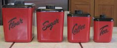 1950s vintage RED BLACK COLS PLASTIC LUSTRO-WARE KITCHEN CANISTERS SET SCRIPT
