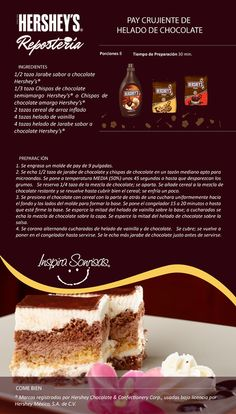 Una deliciosa receta preparada con nuestras Chispas de chocolate Hershey's® y Jarabe sabor a chocolate Hershey's®. Hershey Chocolate Cakes, Chocolate Pavlova, Chocolate Desserts, Macarons Chocolate, Chocolate Crinkles, Chocolate Chocolate, Chocolate Cheesecake, Chocolate Pudding, Mexican Food Recipes