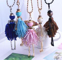 2016 Gioielli di Moda! Doll Pendenti di Collana Charms Donne Libere di trasporto Accessori Femminili di Cristallo Perline Fai Da Te Gioielli fatti a mano