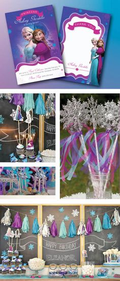Disney Frozen Birthday Party Set, Frozen Invitation, Labels, Thank you Cards, Banner, and so much more!
