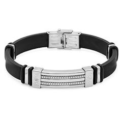 Black Rubber Bracelet with Locking Stainless Steel Clasp 8 1/2 inches... ($18) ❤ liked on Polyvore