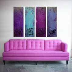 Original Acrylic Painting Abstract Painting Art  M.Schöneberg Large Painting Palette knife Purple Quartet 48x32x 0,8 SHIPPING Express