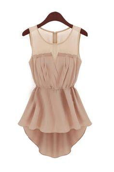 Tank Sleeveless Pink Chiffon Asymmetrical Mini Dress