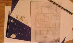 Kamienica. Wzorowana na budynku, który mijam co tydzień jeżdżąc na Nową Gdynię. Robione ołówkiem na lekcji :) .
