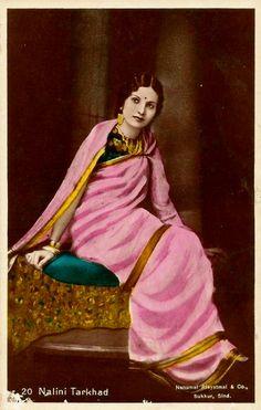 Tinted photo of Nalini Tarkhad - artist unknown