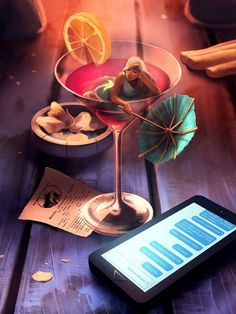 Drink time by AquaSixio (Cyril Rolando), a self-taught French artist creating 'otherwordly' art Michel Ciry, Illustrations, Illustration Art, Cyril Rolando, Art Du Temps, Art Mignon, Time Art, Canvas Prints, Art Prints